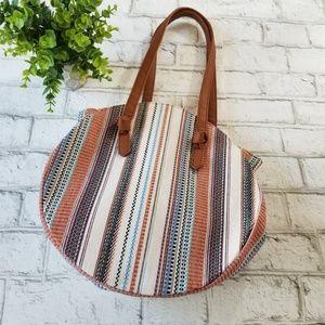Circular Embroidered Shoulder Bag